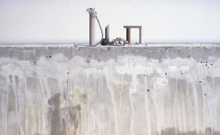 Seawall, objects, ocean, 1998, coloured pencil and watercolour on paper, 69 x 109 cm