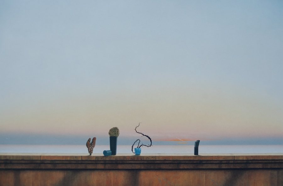 Seawall with objects, 1999, acrylic on panel, 91 x 138 cm