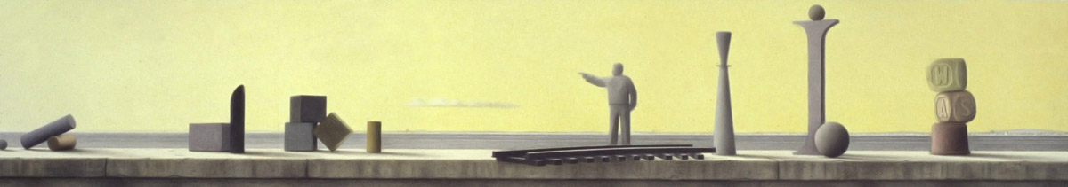 Seawall with objects, Signalman, 1996, graphite and coloured pencils on paper, 29 x 107 cm
