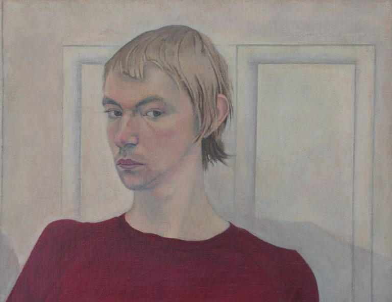 Self-Portrait, 1973, acrylic on panel, 28 x 36 cm