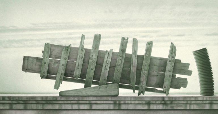 Shipwreck, 1996, graphite and watercolour on paper, 51 x 99 cm