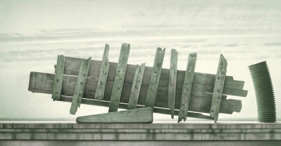 Shipwreck, 1996, graphite and watercolour on paper, 51 x 99 cm