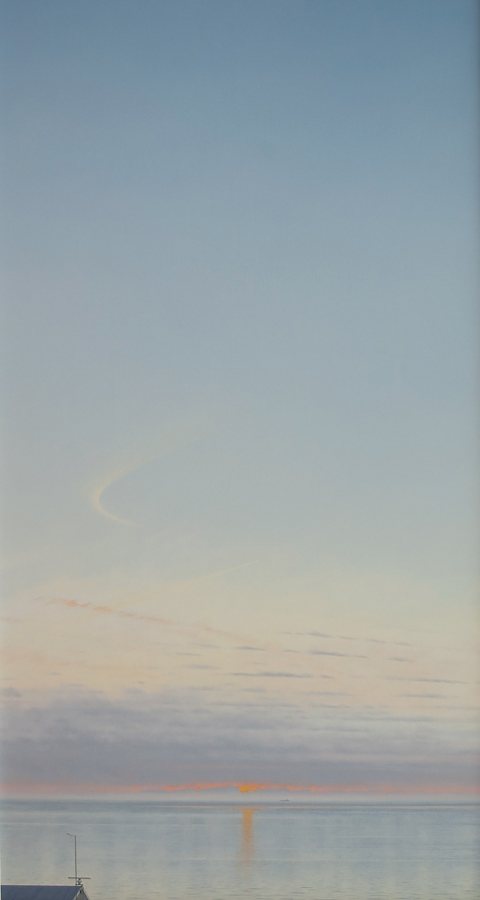Travelling into the night, 1990, oil on panel, 121 x 60 cm