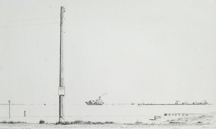 Port Melbourne,1985, graphite on paper, 38 x 58 cm